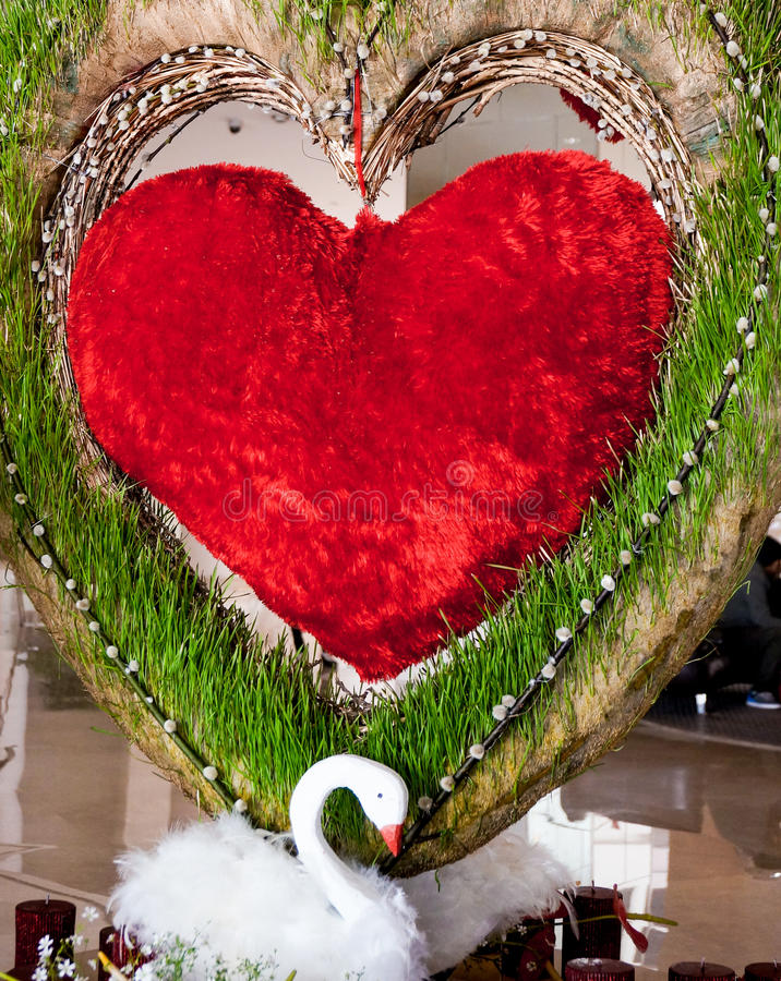 Heart and swan decorations - Love stock photography