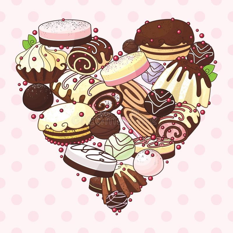 Download Heart of sweets stock vector. Image of card, dessert - 28293763