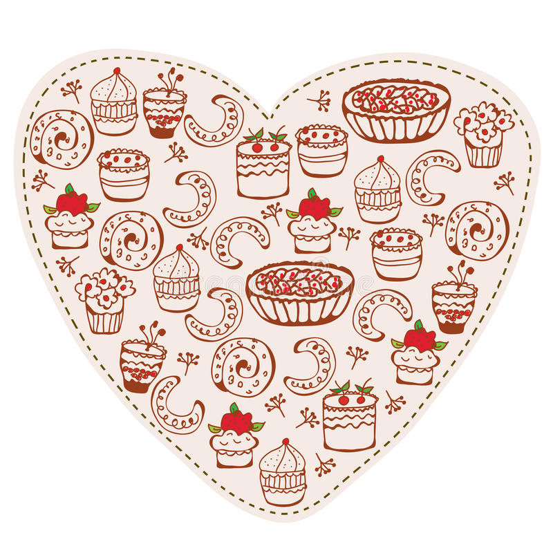Heart sweets funny doodle royalty free illustration