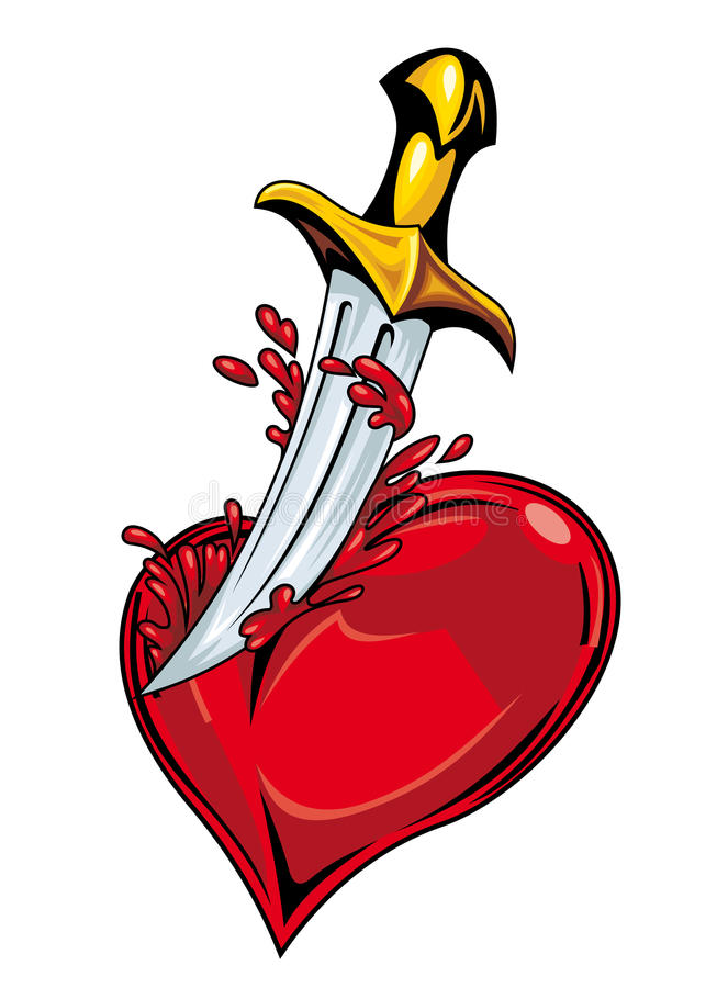 Heart with sword stock illustration