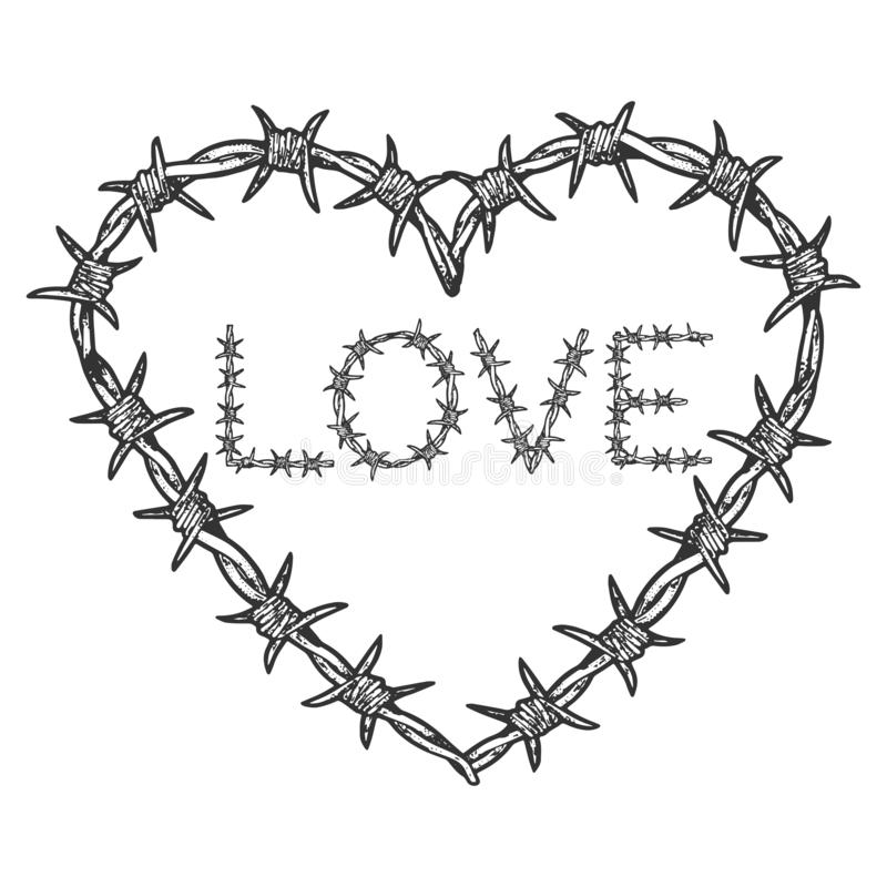 Free Heart Symbol Barb Wire Sketch Engraving Vector Royalty Free Stock Images - 162572909