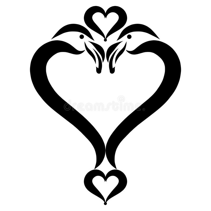 Heart, a symbol of birds, romance and love.  royalty free illustration