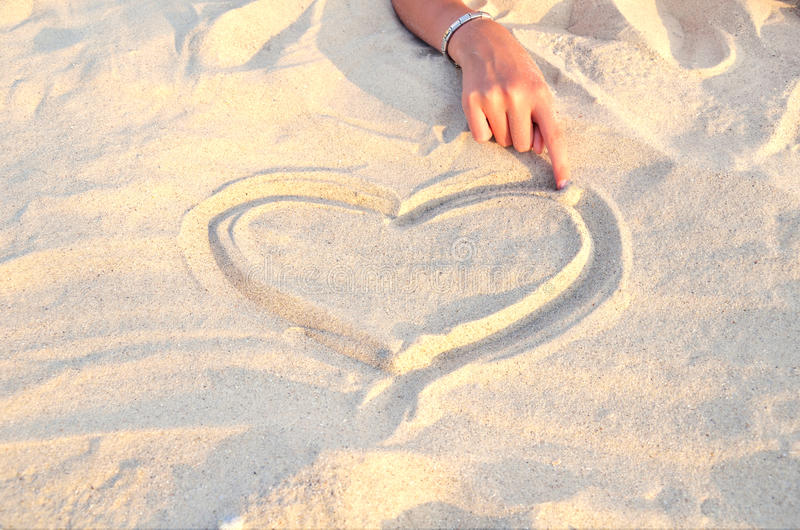 Download Heart Symbol Drawn In The Sand 2 Stock Photo - Image: 32443142