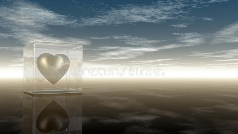 Heart symbol in glass cube under cloudy sky stock illustration