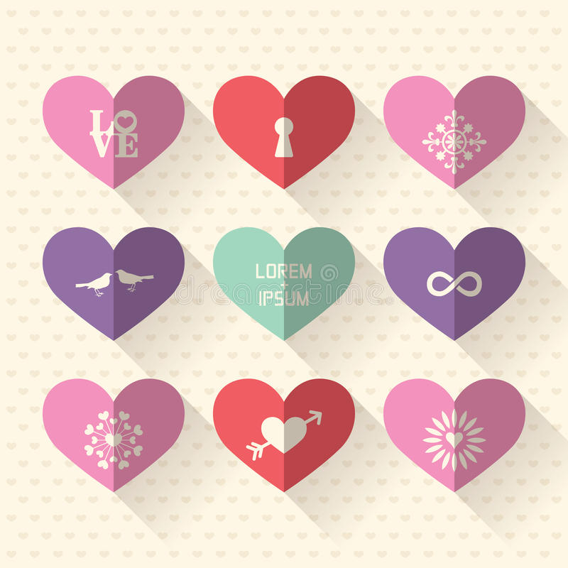 Heart symbol icon set with love and wedding concept. Heart symbol flat design icon set with love and wedding concept royalty free illustration