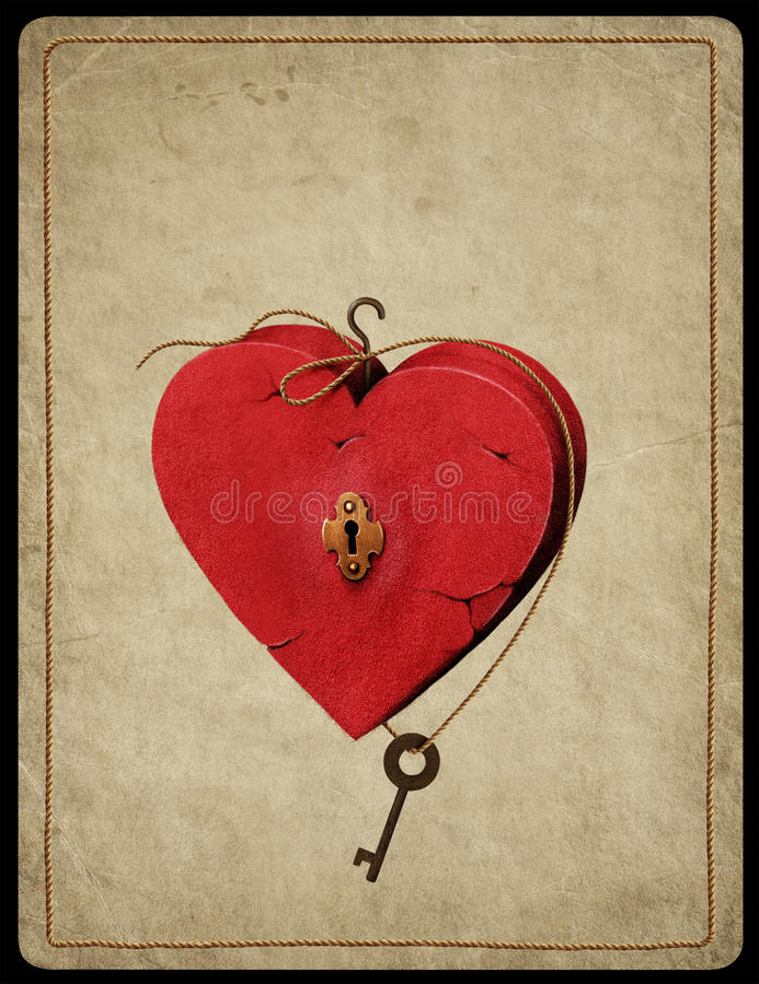 Heart symbol. Illustration with symbol of heart on vintage background. Computer graphics royalty free illustration