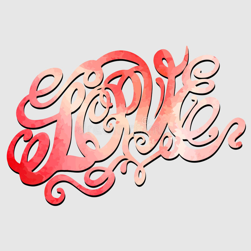 Heart symbol of love and Valentines day lettering royalty free illustration