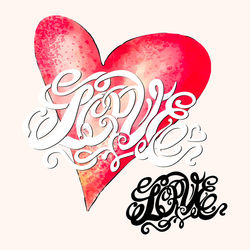 Heart symbol of love and Valentines day lettering stock illustration