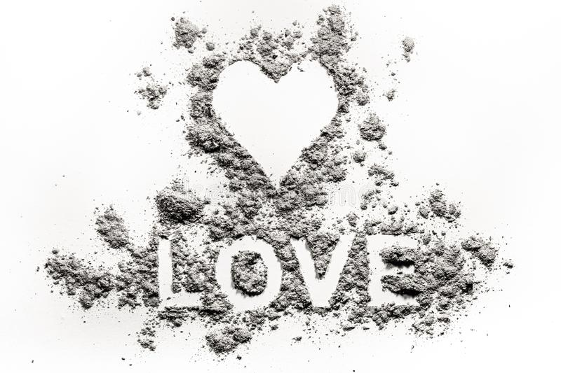 Heart symbol and love word letters drawing in ash, dust. Or sand as fire blaze burnt passion emotion concept and valentine day broken damaged romantic feeling royalty free stock images