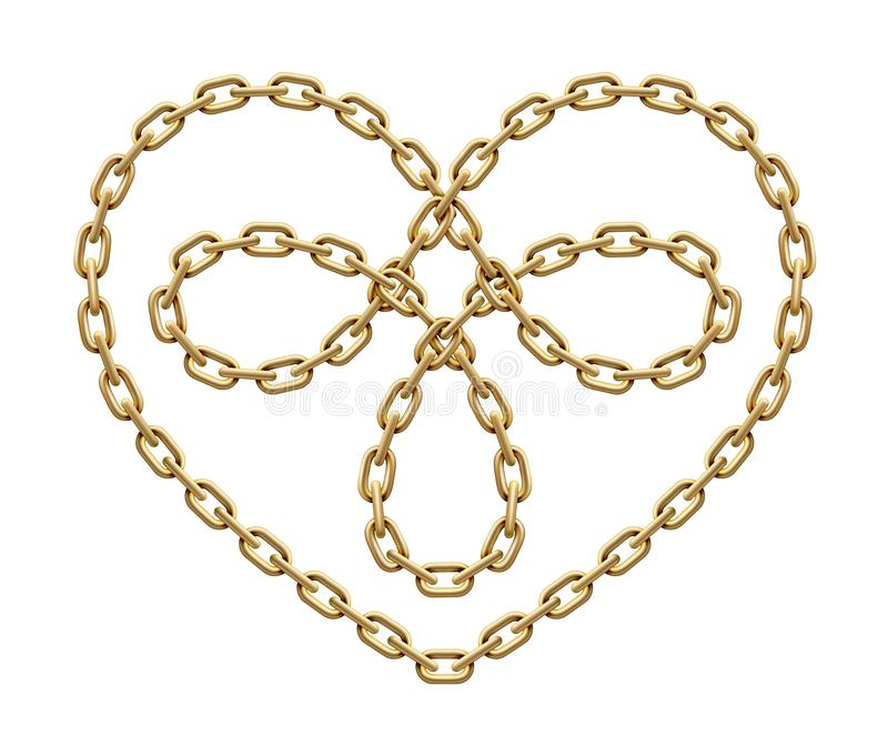 Heart symbol made of golden chains. Triple love sign. Vector illustration stock illustration