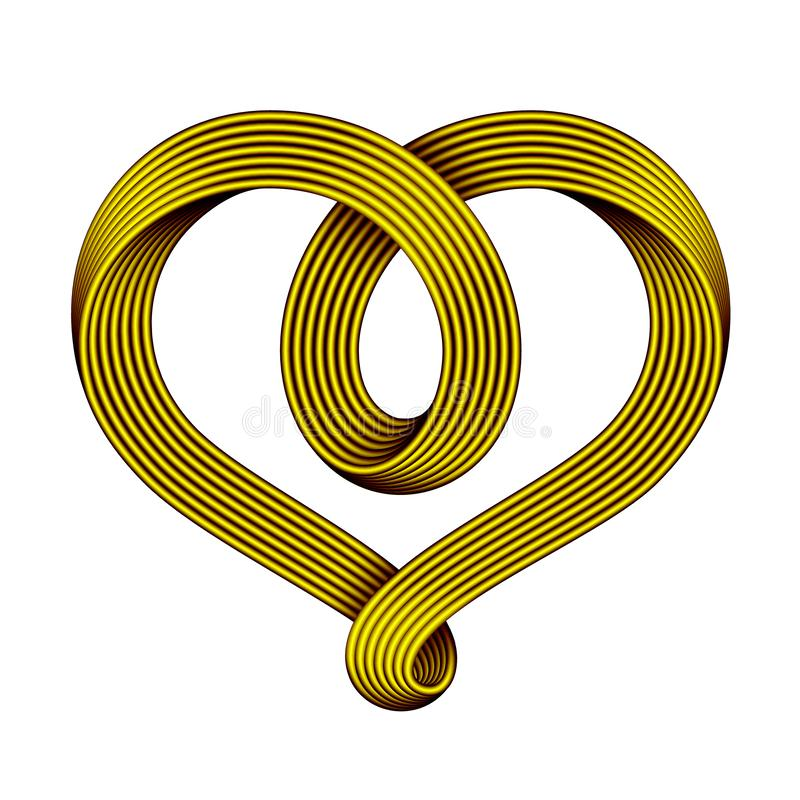 Heart symbol of golden mobius strip as celtic knot.. Vector illustration stock illustration