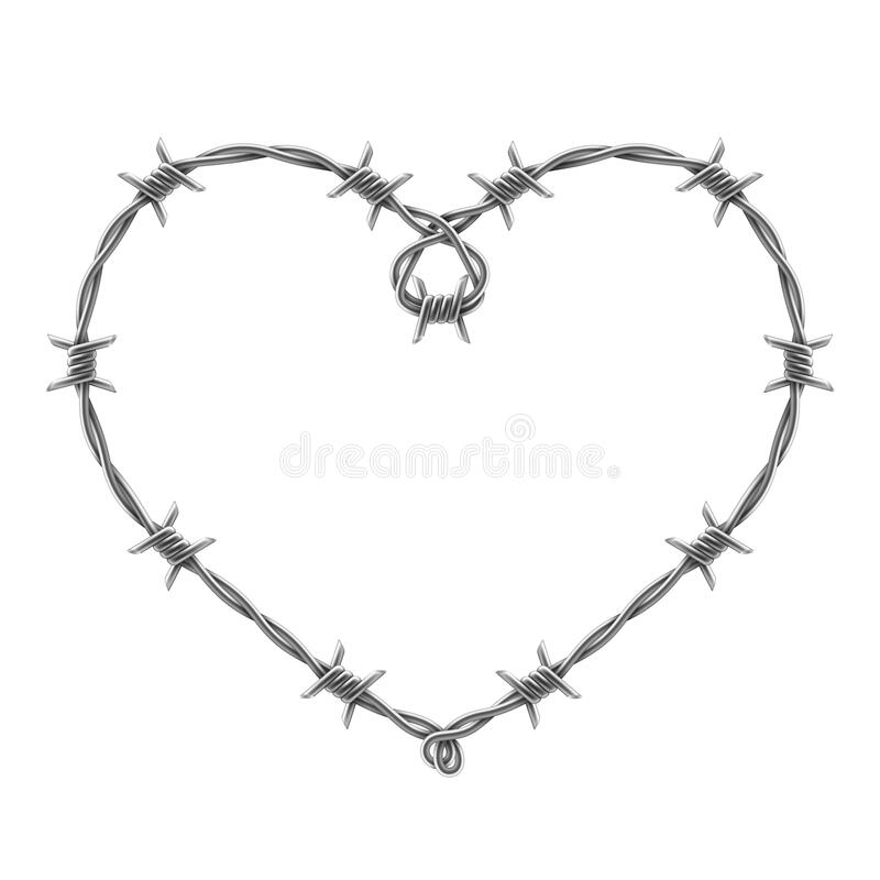 Free Heart Symbol Made Of Spiraling Barbed Wires. Vector Realistic Illustration Stock Photos - 171795993