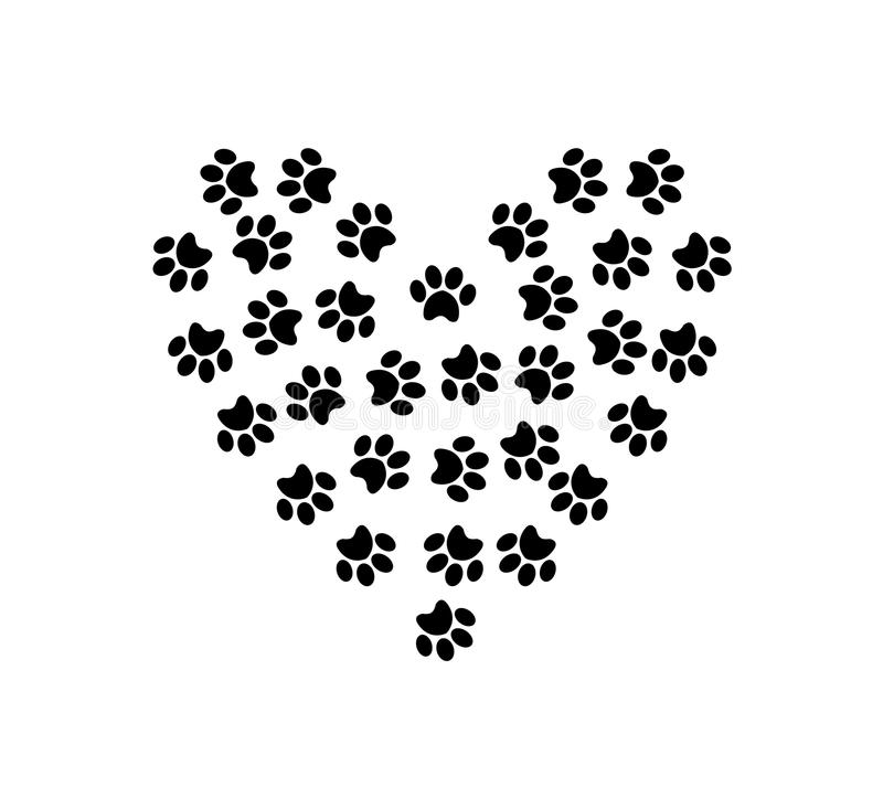 Heart symbol made of pet pawprints isolated on white background. stock illustration