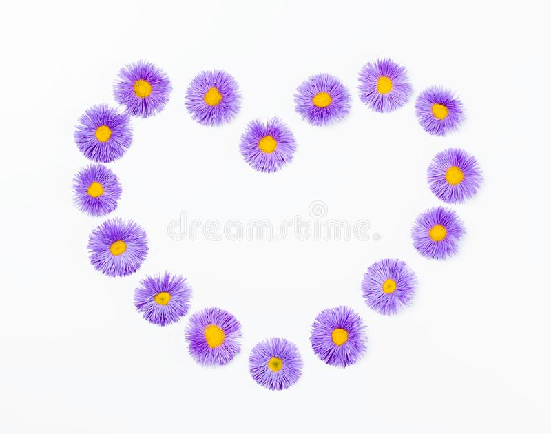 Heart symbol made of violet flowers isolated on white background. Flat lay. royalty free stock photos
