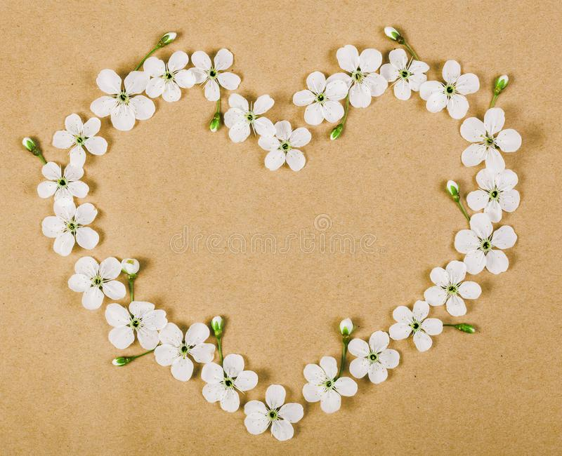 Heart symbol made of white spring flowers and buds on brown paper background. Flat lay. stock images