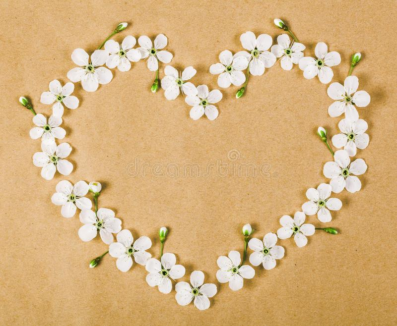Heart symbol made of white spring flowers and buds on brown paper background. Flat lay. stock photo