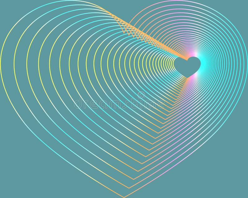 Heart symbol overlap of multi color royalty free stock photo