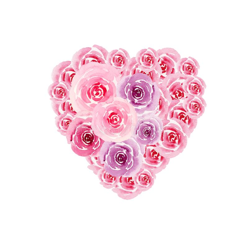 Heart symbol from watercolor flowers of roses isolated . Valentine`s Day card stock illustration