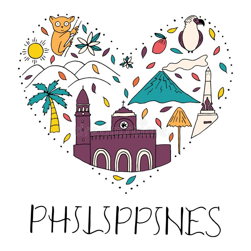 The Heart With Symbols Of Philippines Stock Illustration