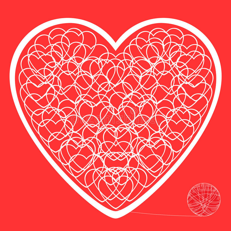 The heart of the tangled threads on a red background stock photo