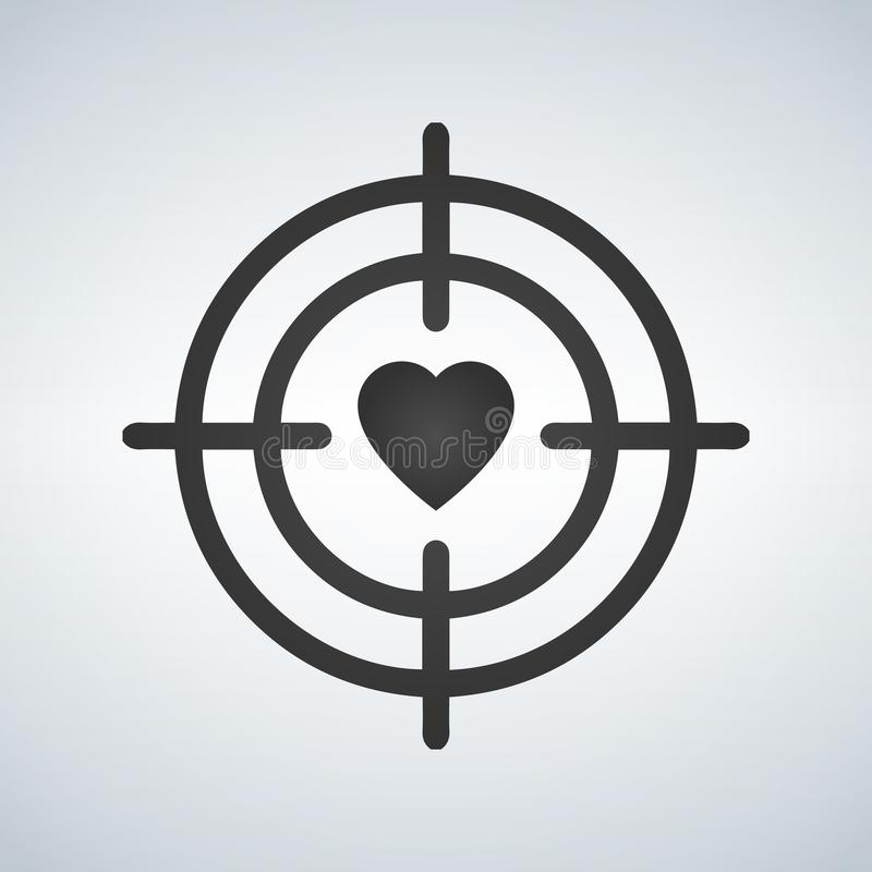 Heart in Target aim line icon. Love dating symbol. Valentines day sign. Quality design element.. Vector illustration. stock illustration