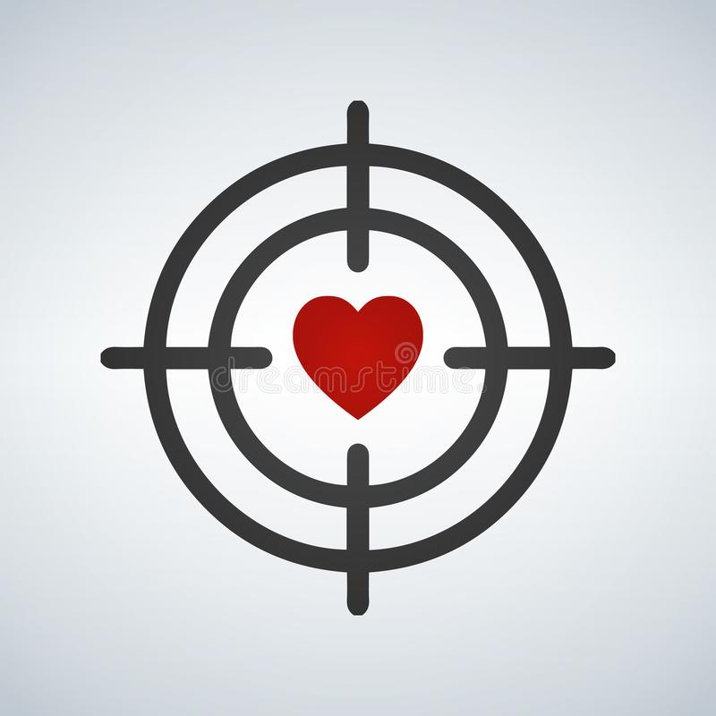 Heart in Target aim line icon. Love dating symbol. Valentines day sign. Vector illustration. royalty free illustration