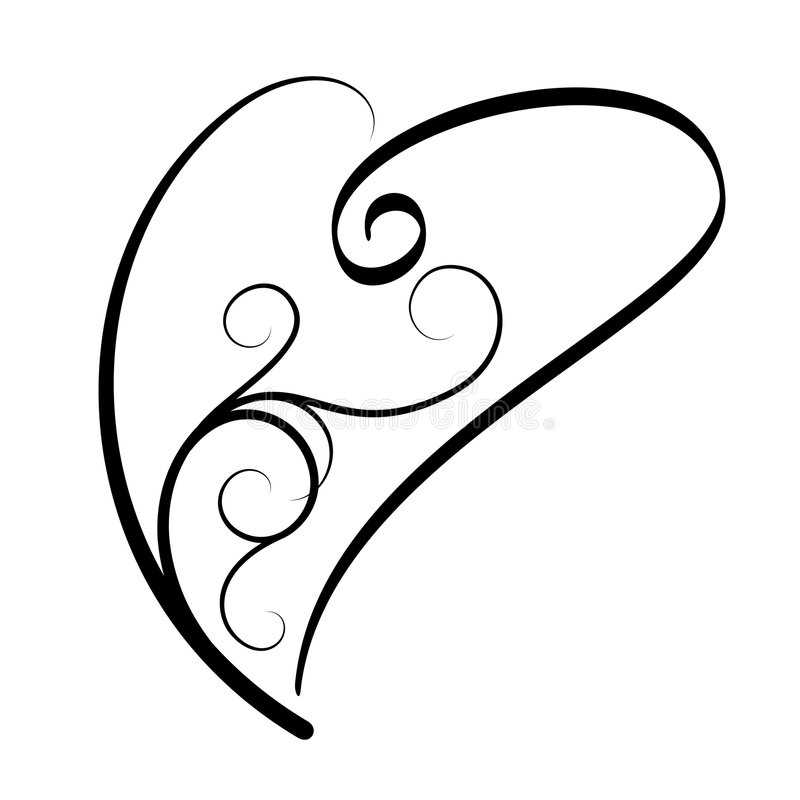 Heart tattoo. Simple curled heart tattoo (Vector