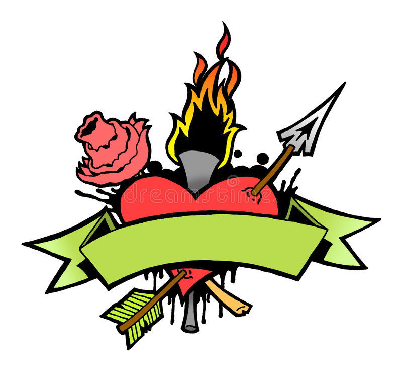 Heart Tattoo. Tattoo style heart with rose, torch, banner stock illustration