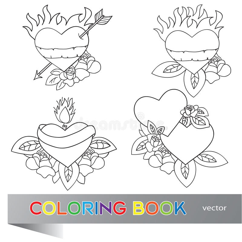 Heart Tattoo Design - coloring book royalty free illustration