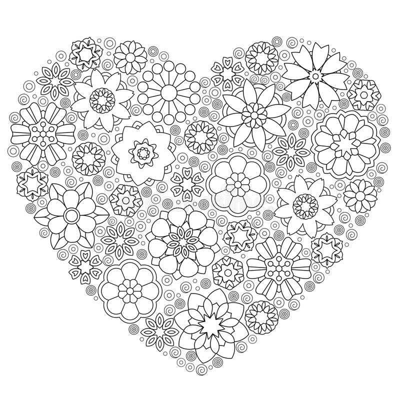 Download zentangle floral patterned heart stock vector illustration of black cartoon 112035835