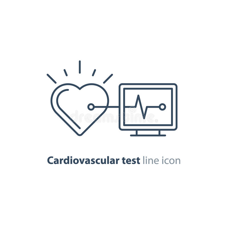 Heart test line icon, electrocardiogram monitor logo, cardiology examination. Cardiovascular disease prevention test, heart diagnostic, electrocardiography logo vector illustration