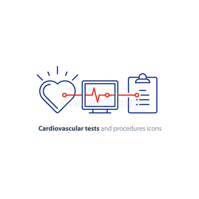 Heart test line icon, electrocardiogram monitor logo, cardiology examination. Cardiovascular disease prevention test, heart diagnostic, electrocardiography logo stock illustration