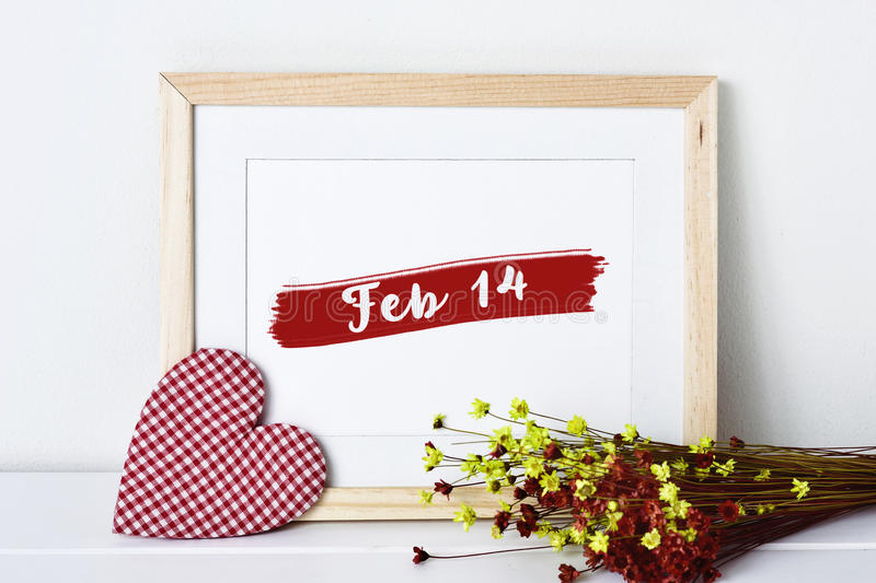 Heart and text feb 14 in a picture royalty free stock image