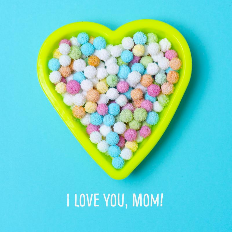 Heart and text I love you mom royalty free stock photo