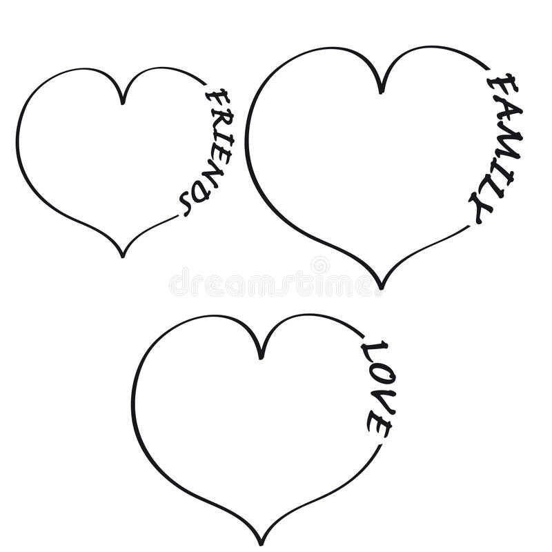 Heart with text on white background. Vector illustration vector illustration