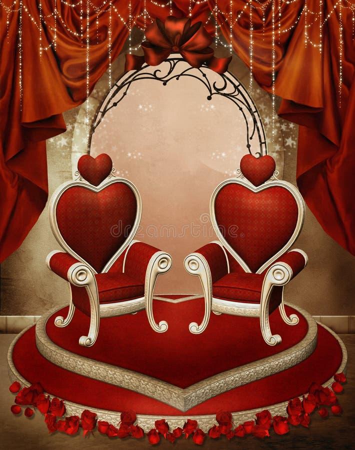 Heart thrones vector illustration