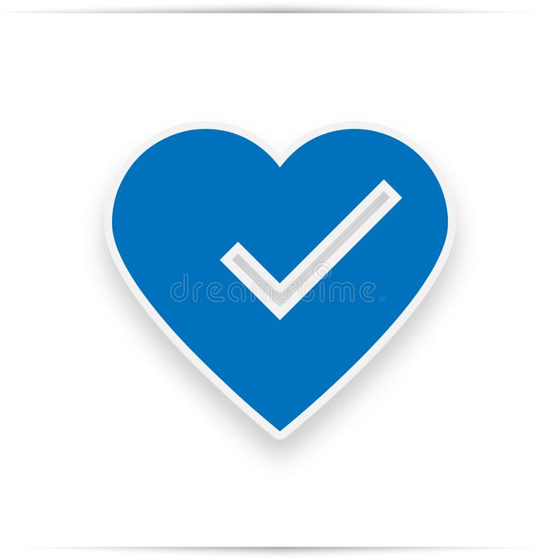 Heart and tick icon in blue color royalty free illustration