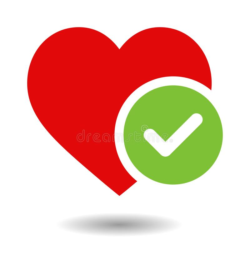 Heart and tick icon. Simple vector filled flat red heart and tick icon solid pictogram isolated on white background. love and valentines day symbol royalty free illustration