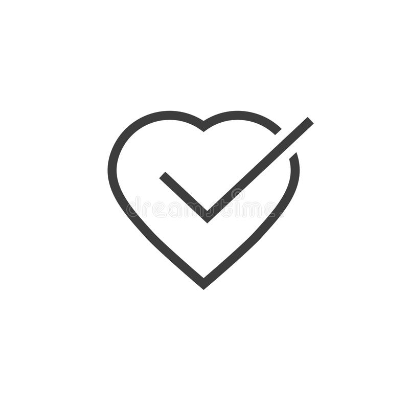 Heart Tick Icon Vector Illustration Line Outline Art Healthy Heart