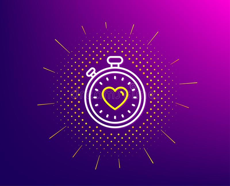 Heart in Timer line icon. Love symbol. Vector. Heart in Timer line icon. Halftone pattern. Love symbol. Valentines day stopwatch sign. Gradient background stock illustration