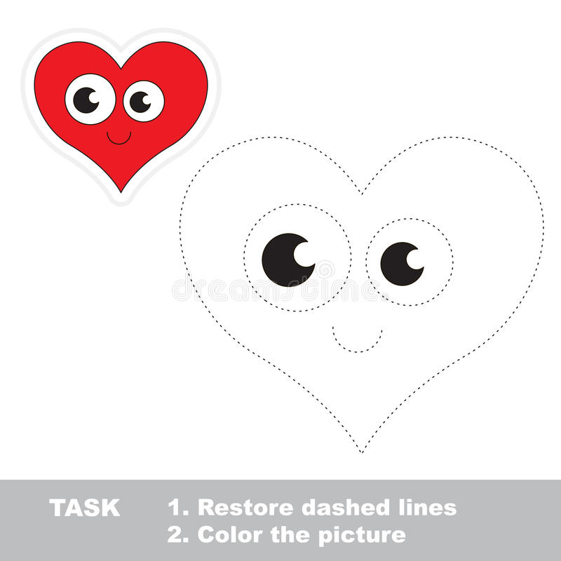 Heart to be traced. Vector trace game. vector illustration