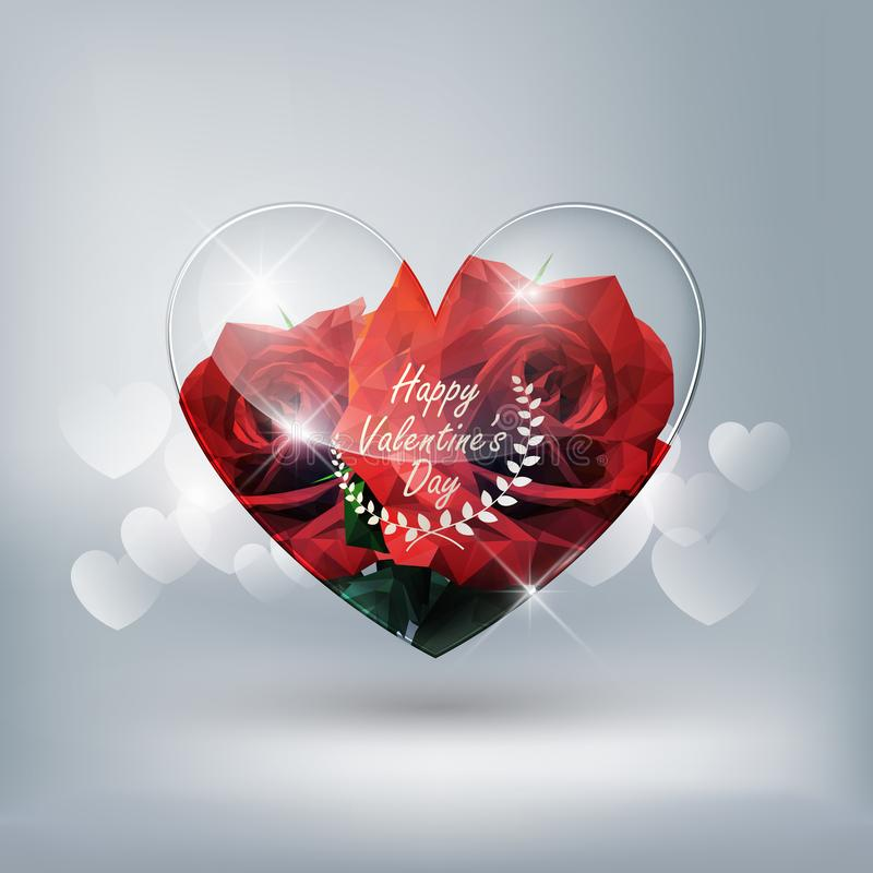 Heart transparent glass and red rose low poly style on heart bokeh background with Valentine`s day concept, vector background vector illustration