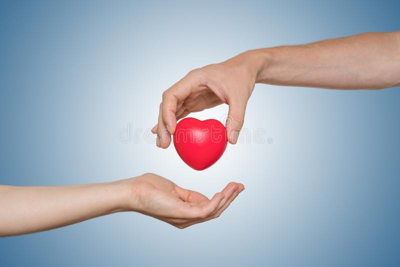 Heart transplant and organ donation concept. Hand is giving red heart.  stock photography