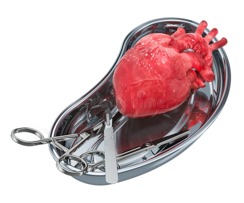 Heart transplant surgery concept. Donor heart in metallic tray w royalty free illustration