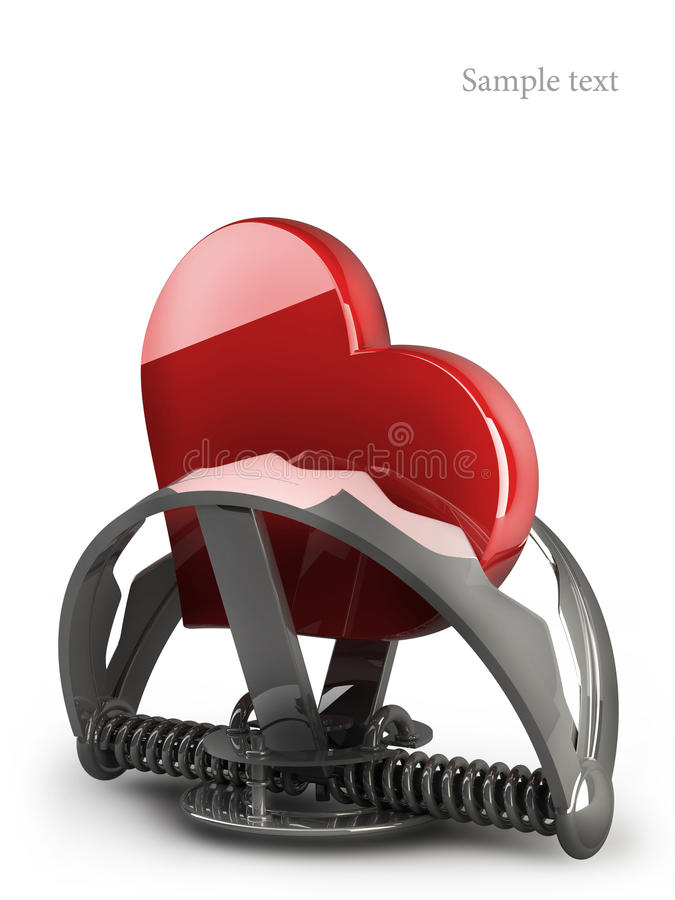 Heart in the trap. On white 3d stock illustration