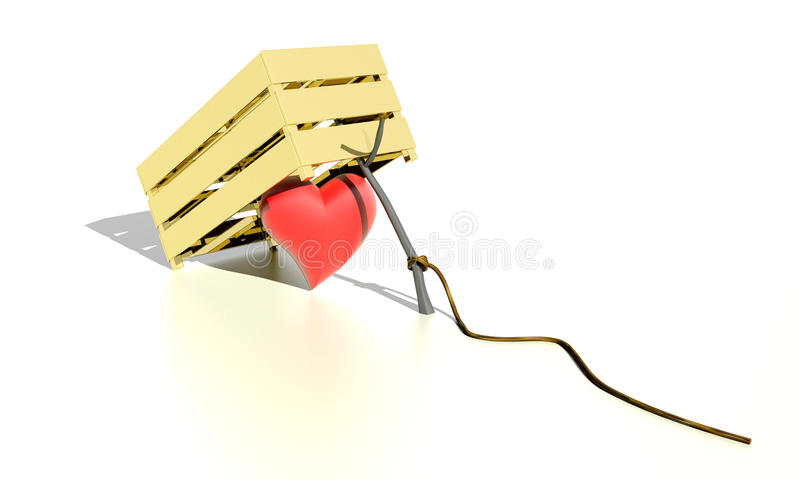 Heart in a trap. Red heart set in a trap - trapped by love royalty free illustration