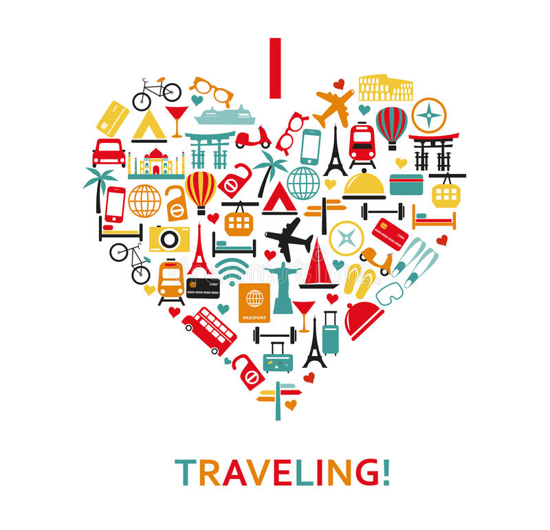 Heart from travel icons stock illustration