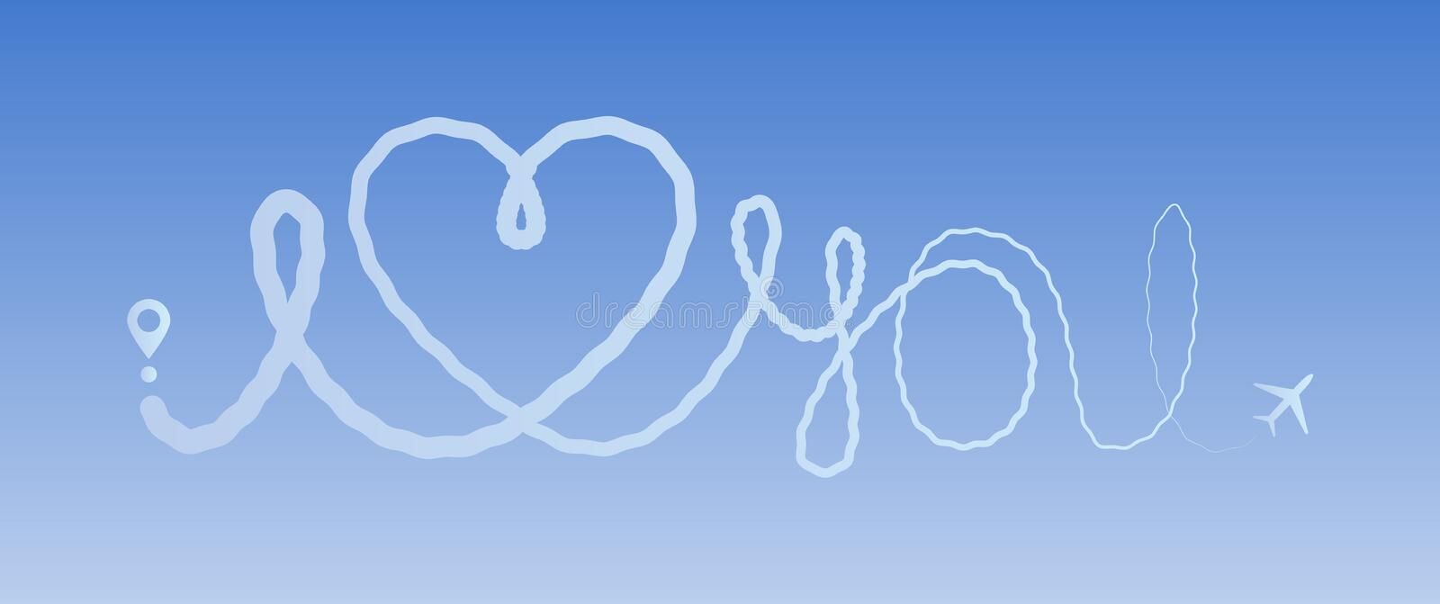 Heart travel love airplane route romantic travel line trace plane routes hearted path love you sky linear icon flight. Heart travel love airplane route romantic vector illustration
