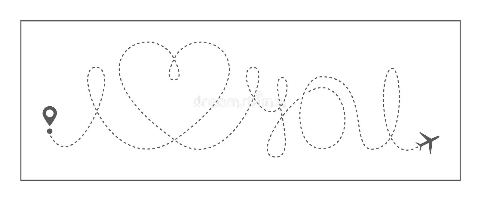 Heart travel love airplane vector love linear icon route romantic dashed line trace hearted airplane path flight air. Heart travel love airplane vector I love vector illustration