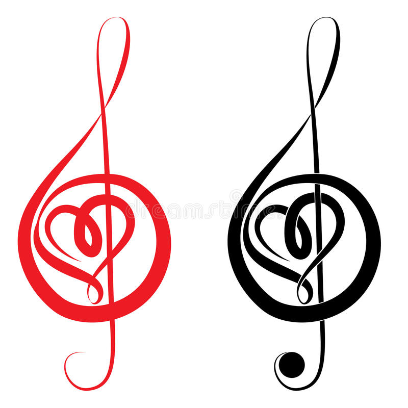 Heart of treble clef and bass clef. Heart of treble clef and bass love music valentine day vector illustration royalty free illustration